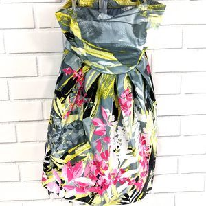 Speechless Strapless Dress Sz 3 Gray Yellow 80's
